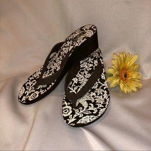 Dark brown sandal wedges